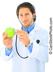 Unhealthy Food - young doctor showing unhappy expression...