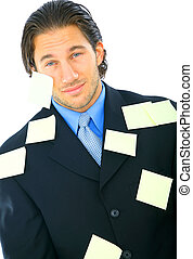 Tired Young Male With Many Post It