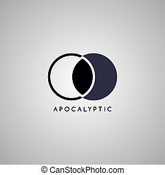 apocalypse moon logo template vector art illustration