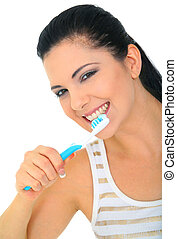 Attractive Woman Brushing Teeth Isolated - attractive young...