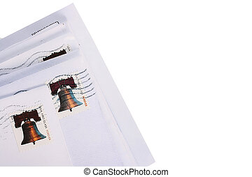 Letters in envelopes received by mail with a post mark in...
