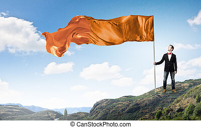 Man with waving flag - Student guy in casual with flag in...