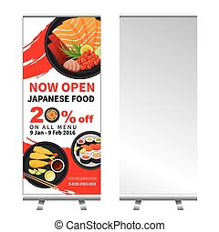 japanese food roll up  banner stand design