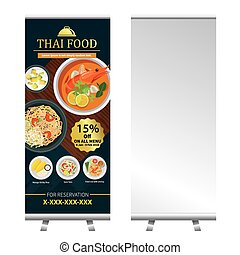 thai food roll up  banner stand design