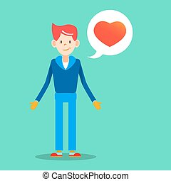 young man with love message for valentines day design vector...