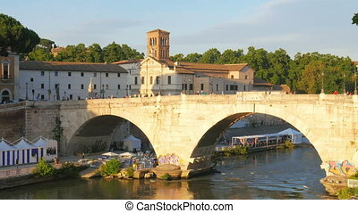 """tiber island, first settlement of rome city, italy, 4k"""