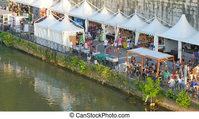 """people travel and enjoy on tiber river, rome, italy"""