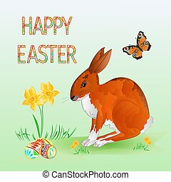 Happy Easter Cheerful spring bunny vector.eps