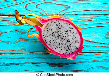 Pitaya dragon fruit in pink cutted - Pitaya dragon fruit...