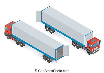 Isometric red truck without a trailer on a white background