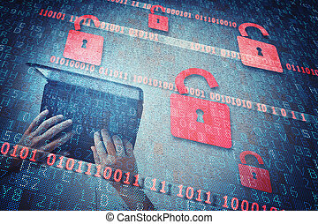 Security padlock - Background of open red padlocks for...