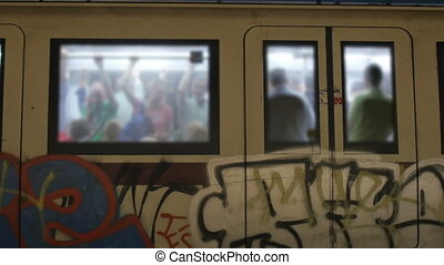 """people at metro, rome, italy, 4k"""