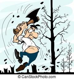 Man with an ax chopping trees - A man with an ax chopping...