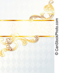 Beautiful vertical rococo wedding banner - Elegant white and...