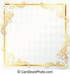 Beautiful rococo wedding frame - Elegant white and gold...