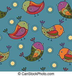 Colorful pattern with birds retro - Vector colorful pattern...