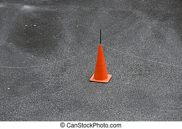 no drive - red prohibition cone with metallic chain fence...