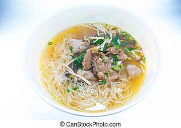noodles on white background.