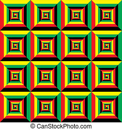 black red yellow green perspective tile seamless background