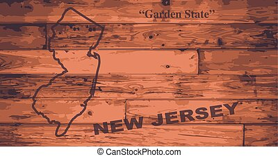 New Jersey Map Brand - New Jersey state map brand on wooden...