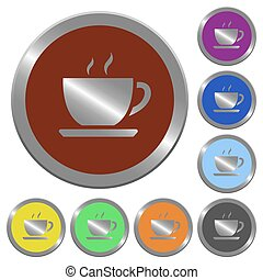 Color coffee buttons - Set of color glossy coin-like coffee...