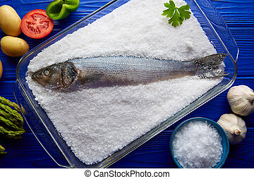 Seabass baked in sea salt seabass crusted from Mediterranean...