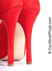 Red shoes with high heels close-up