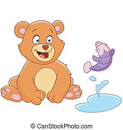 cartoon bear and fish