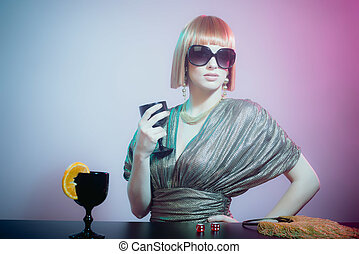 Woman in Sunglasses at Bar Holding Wine Glass - Glamorous...