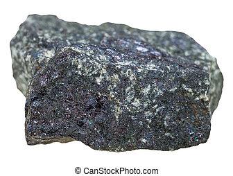 Bornite (peacock ore) stone isolated