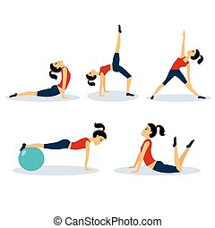 Fitness Women Workouts Set Vector Illustration Set - Fitness...