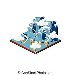Icing Natural Disaster Icon Vector Illustration - Icing...