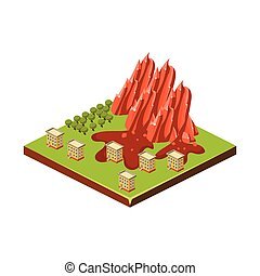 Mudslide Natural Disaster Icon Vector Illustration -...