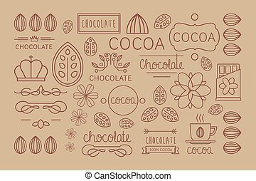 Cocoa Icon, logo, Signs and Badges. Vector Illustration Set...