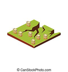 Earth Cracks. Natural Disaster Icon. Vector Illustration -...