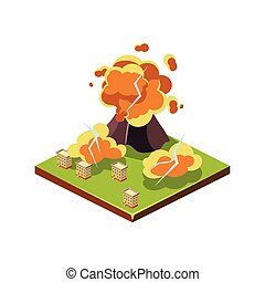 Volcano Eruption Natural Disaster Icon Vector Illustration -...