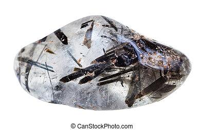 tumbled quartz with schorl crystals gemstone