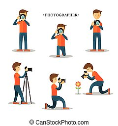 Photographer with Camera in Action Set - Photography,...