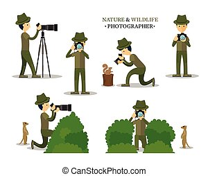 Nature and Wildlife Photographer with Camera in Action Set