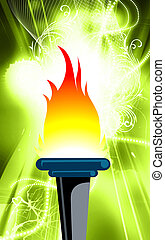 Torch	 - Illustration of a fire torch with flames