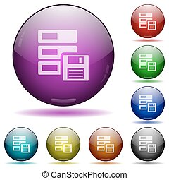 Backup glass sphere buttons - Set of color backup glass...