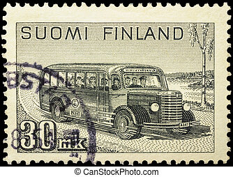 Old postal bus rides on rural road - MOSCOW, RUSSIA -...