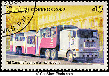 Autobus El Camello on postage stamp - MOSCOW, RUSSIA -...