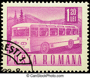 Motor coach on postage stamp - MOSCOW, RUSSIA - FEBRUARY 10,...