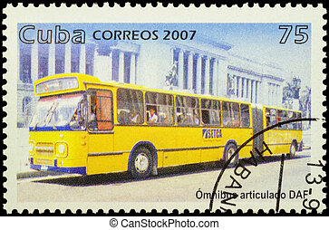 Autobus DAF on postage stamp - MOSCOW, RUSSIA - FEBRUARY 10,...