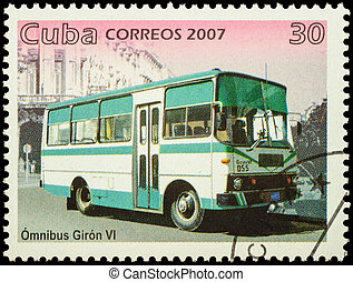 Autobus Giron VI on postage stamp