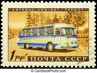 Old russian bus LAZ-697 Tourist on postage stamp - MOSCOW,...