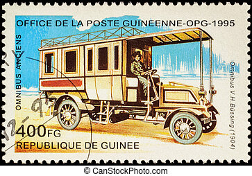 Old autobus Bussing (1904) on postage stamp - MOSCOW, RUSSIA...