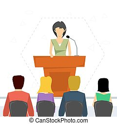 Public speaker from tribune - Vector concept public speaking...