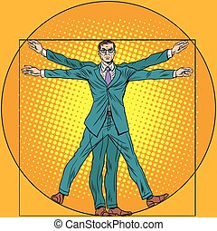 businessman Vitruvian man - A businessman in the style of...